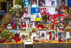 MUNICH, GERMANY - JULY 09 : people remember Michael Jackson with cards and  letters at the statue of Orlando di Lasso on July 09,2011 in Munich, Germany. Jackson died on June 25,2009 in Los Angeles.