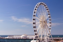The towering Brighton Wheel on the seafront at Brighton East Sussex England UK