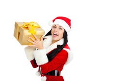 young happy smile woman wear santa clause costume hold gift box, attractive christmas new year party girl happy smile, isolated over white background