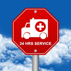 Hexagon Red Traffic Sign For Ambulance Car 24 HRS Service Against The Blue Sky Background