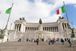 ROME,ITALY-APRIL 23: National Monument of  Victor Emmanuel II, Piazza di Venezzia. on April 23,2012 in Rome,Italy. Made in honor of the first king of Italy, Victor Emmanuel II in 1911