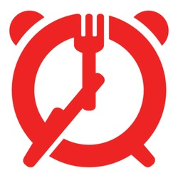 Dinner time sign - fork and knife as hands of alarm clock