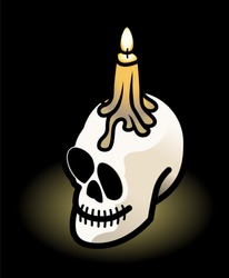 A grinning skull with a lit candle on top. Shown on a black background.