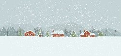 Winter background with a peaceful village in a snowy landscape. Christmas vector hand drawn background.