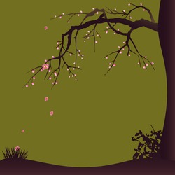 Decorative design with a blossoming plum tree. Vector illustration.