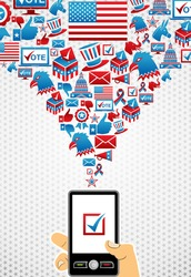 US elections online voting: hand holding a smartphone with icons splash background.