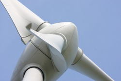 Abstract close up of Wind Turbine producing alternative energy