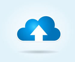 This image represents a cloud upload illustration./Cloud Upload