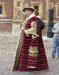 LONDON, UNITED KINGDOM - MAY 26: An actor portrays King Henry VIII on May 26, 2012 at Hampton Court Palace in London, United Kingdom. King Henry VIII was King of England from 1509-1547.