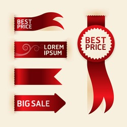 red ribbon promotion products design, vector illustration