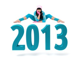 Young woman and 2013 New Year sign against isolated white background