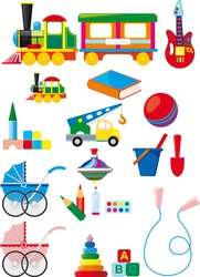Big set of colorful children's toys isolated on white background