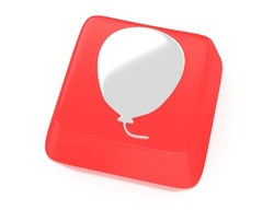 Balloon symbol in white on red computer key. 3d illustration. Isolated background.