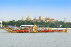 "BANGKOK,THAILAND-NOVEMBER 2: ""Anantanakkharat"" was set for the dress rehearsal of the Royal Barge Procession for the Royal Kathin Ceremony at Chaopraya river on November 2,2012 in Bangkok,Thailand"