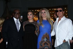 "L.A. Reid, Demi Lovato, Britney Spears and Simon Cowell at the ""The X Factor"" Season 2 Premiere and Handprint Ceremony, Chinese Theater, Hollywood, CA 09-11-12"