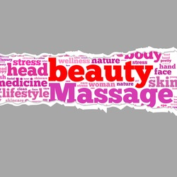 Torn Paper with beauty info-text graphics and arrangement concept on white background (word cloud)