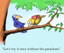 """Let's try it once without the parachute."""