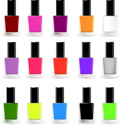 Set bottles of nail polish in various colors. Vector illustration