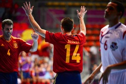 BANGKOK,THAILAND-NOVEMBER05: Alemao (no.14) of Spain celebrates with team mate during the FIFA Futsal World Cup Spain and Panama at Indoor Stadium Huamark on Nov5, 2012 in Bangkok,Thailand.