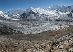 High resolution view from the Chhukhung Ri on the Amphulapche peak and Imja Tsho - Everest region, Nepal, Himalayas