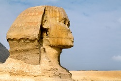 Closeup view of the Sphinx head, Cairo, Egypt