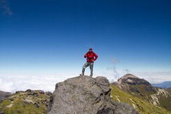 Man on top of mountain, andes mountains, pichincha volcano, Ecuador