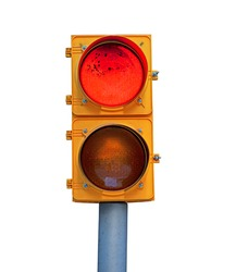Natural dirty red traffic light isolated on white