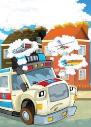 Vehicles vertical illustration