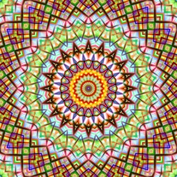 Colorful kaleidoscopic abstract circular pattern.
