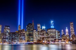 World Trade Center Tribute in Light at night from Brooklyn across the East River shot on September 11, 2012.