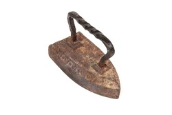 Old rusty metal iron isolated on white background