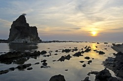 Sunset on Sawarna beach, Indonesia
