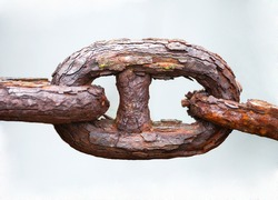 link of chain of rusty iron