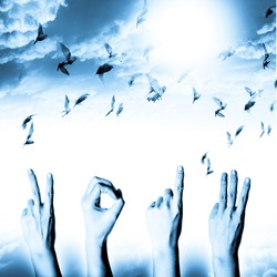 blue hand with new year 2013 abstract with doves flying on blue sky and cloud background