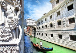 Venice --gondolas passing over Bridge of Sighs