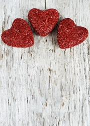 Valentine heart on the old wooden background