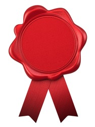 Blank red wax seal with ribbons