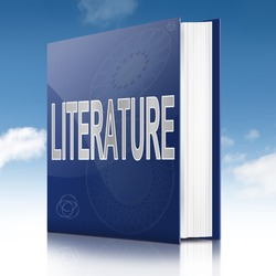 Illustration depicting a text book with a literature concept title. Sky background.