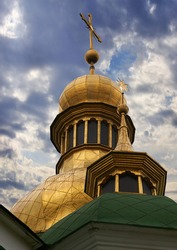 Morning Saint Sophia Cathedral church and sunshine. Kiev-City centre, Ukraine. Three shots composite picture.