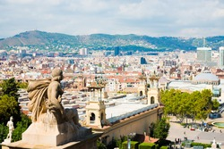 Aerial view of Barcelona from  National Palace