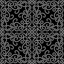 Black and white seamless pattern, dotted swirls ornament. Vector version available in my portfolio