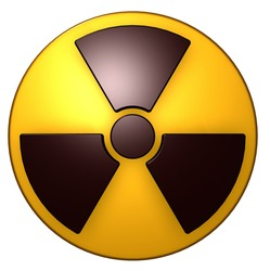 nuclear symbol on white background - 3d illustration