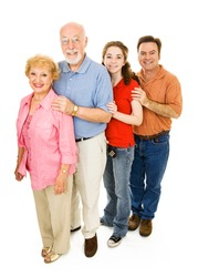 Grandparents, middle aged father, and teen girl, all together.  Full body isolated on white.