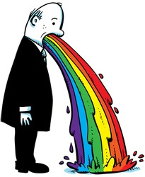 A cartoon businessman vomits a rainbow on to the floor.