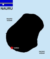 very big size nauru black map with flag