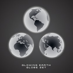 Glowing EPS10 Vector Earth Globe Set