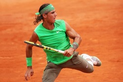 Spain's top tennis player and world #2 Rafael Nadal plays at Roland Garros 2008, French Open, Paris, France