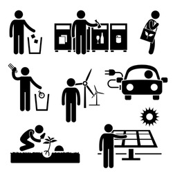 Man People Recycle Green Environment Energy Saving Stick Figure Pictogram Icon