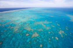 Aerial view of Great Barrier Reef, Queensland, Australia