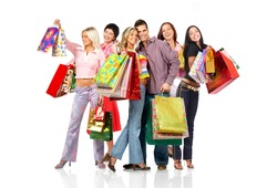 Shopping  smile people. Isolated over white background